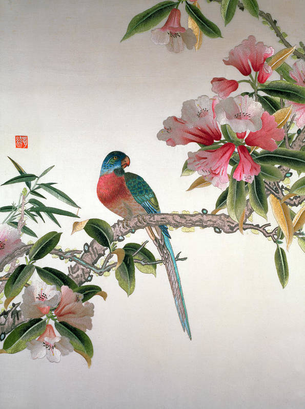Bird; Flowering Tree; Botanical; Temple Flower; Embroidered Poster featuring the tapestry - textile Jay On A Flowering Branch by Chinese School
