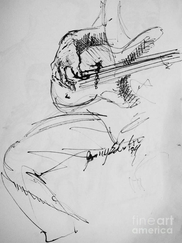 Jazz Bass Guitarist Drawing Poster featuring the drawing Jazz Bass Guitarist by Jamey Balester