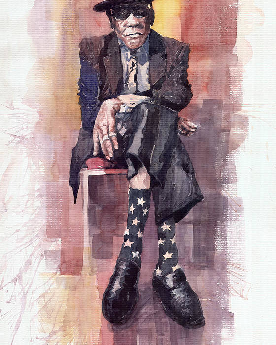 Watercolour Poster featuring the painting Jazz Bluesman John Lee Hooker by Yuriy Shevchuk