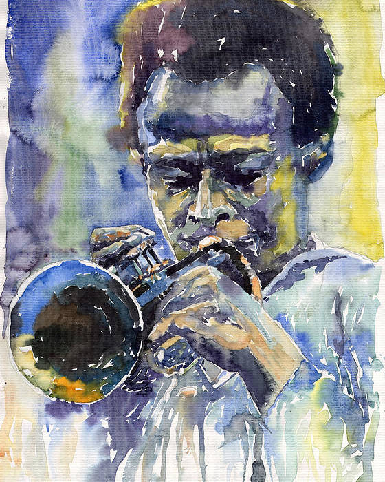 Jazz Poster featuring the painting Jazz Miles Davis 12 by Yuriy Shevchuk