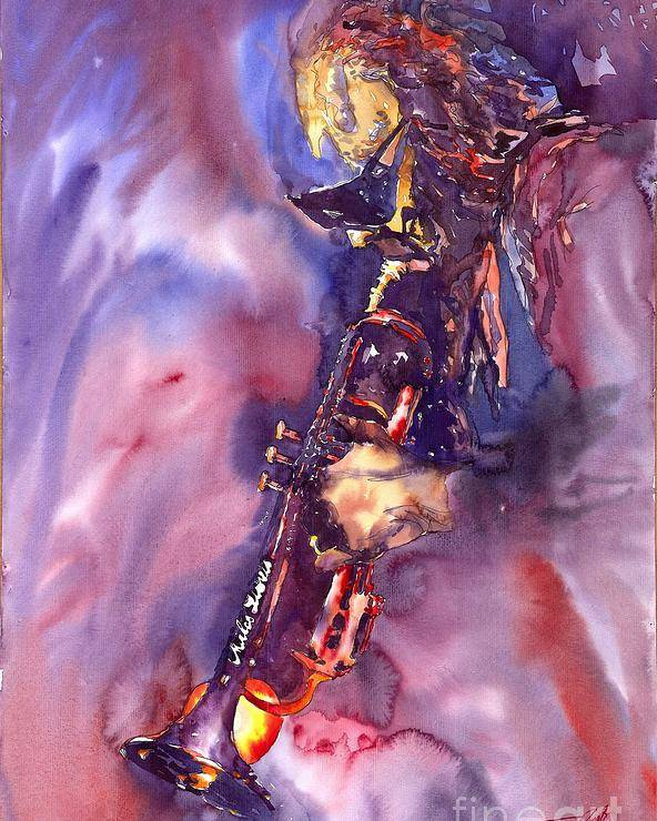 Davis Figurative Jazz Miles Music Musiciant Trumpeter Watercolor Watercolour Poster featuring the painting Jazz Miles Davis Electric 3 by Yuriy Shevchuk