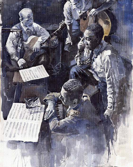 Jazz Poster featuring the painting Jazz Parker Tristano Bauer Safransky Rca Studio Ny 1949 by Yuriy Shevchuk
