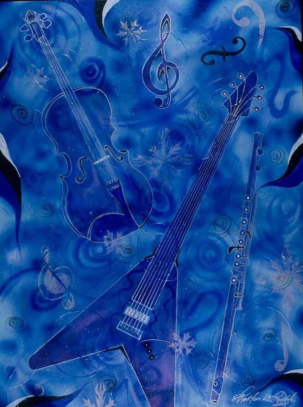 Music Poster featuring the painting Jazzy And Icy by Shellton Tremble