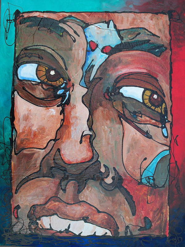 Abstract Poster featuring the painting Jealousy To Wrath Road by Ernie Scott- Dust Rising Studios