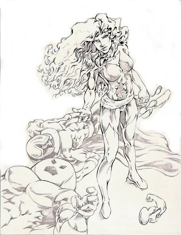 Jean Grey Poster featuring the drawing Jean Grey by Eric Armstrong