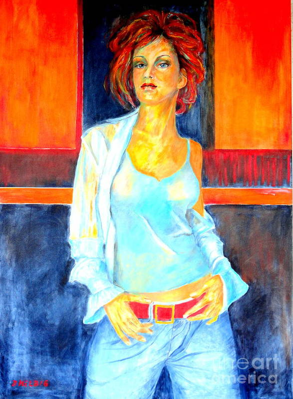 Oilpainting Poster featuring the painting Jeans by Dagmar Helbig