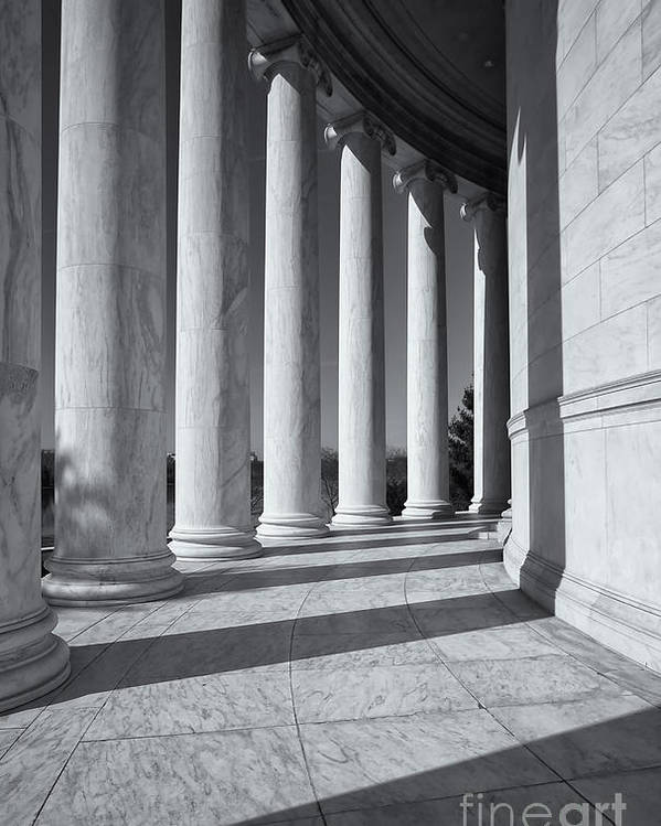 Clarence Holmes Poster featuring the photograph Jefferson Memorial Columns And Shadows by Clarence Holmes