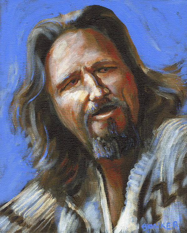 The Dude Poster featuring the painting Jeffrey Lebowski - The Dude by Buffalo Bonker