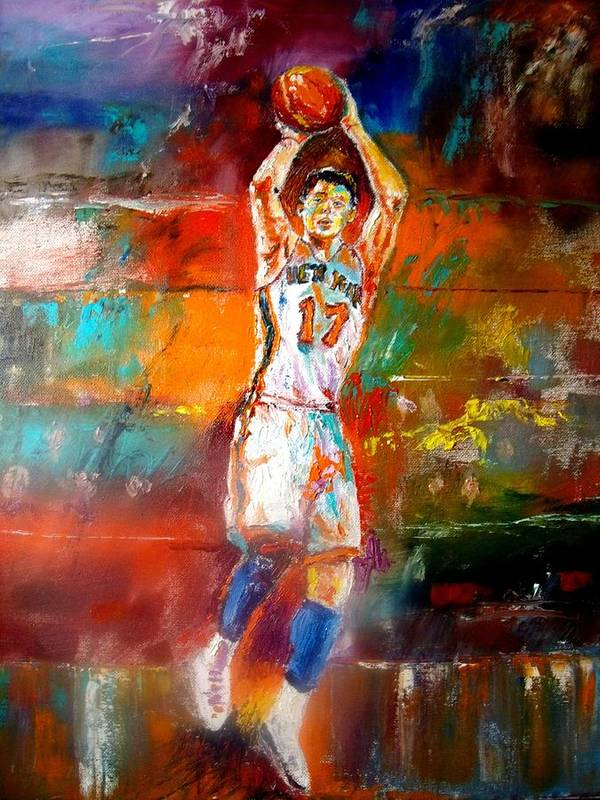 Jeremy Lin  Poster featuring the painting Jeremy Lin New York Knicks by Leland Castro
