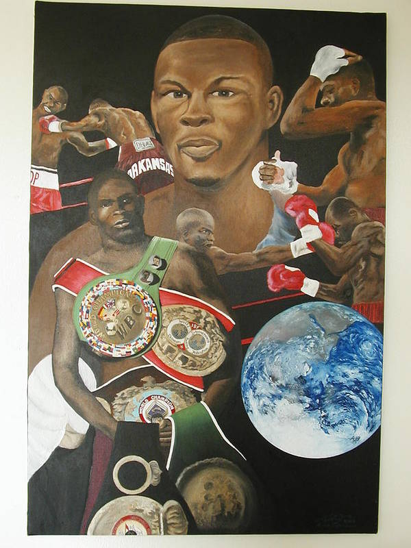 Portrait Poster featuring the painting Jermain Taylor Montage by Angelo Thomas