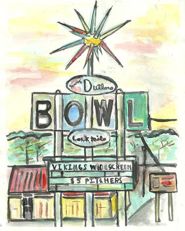 Bowling Poster featuring the painting Jerry Dutler's Bowl by Matt Gaudian
