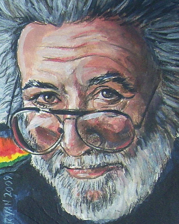 Jerry Garcia Poster featuring the painting Jerry Garcia by Bryan Bustard