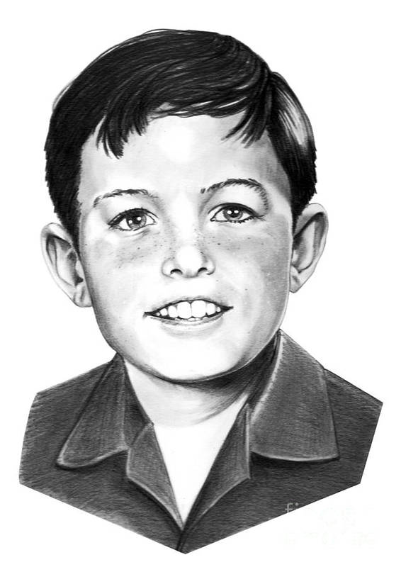 Portrait Poster featuring the drawing Jerry Mathers-as The Beaver-murphy Elliott by Murphy Elliott