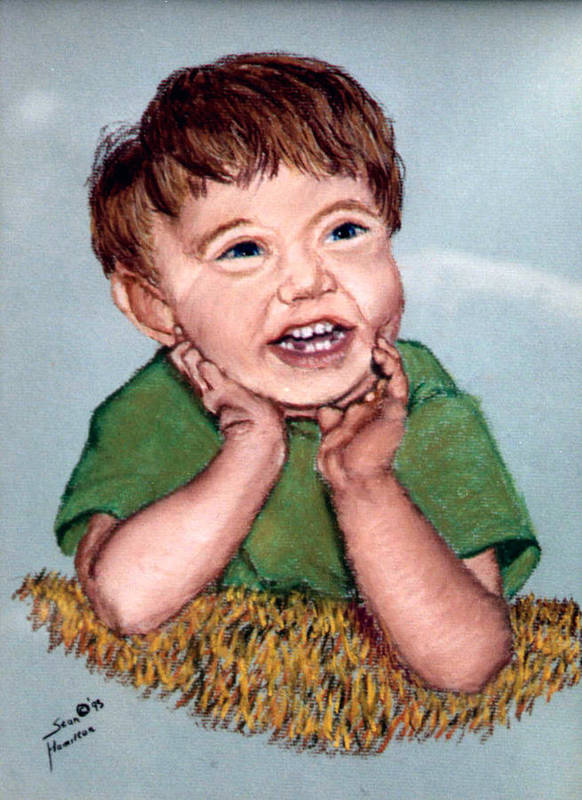 Baby Portrait Poster featuring the painting Jerry by Stan Hamilton