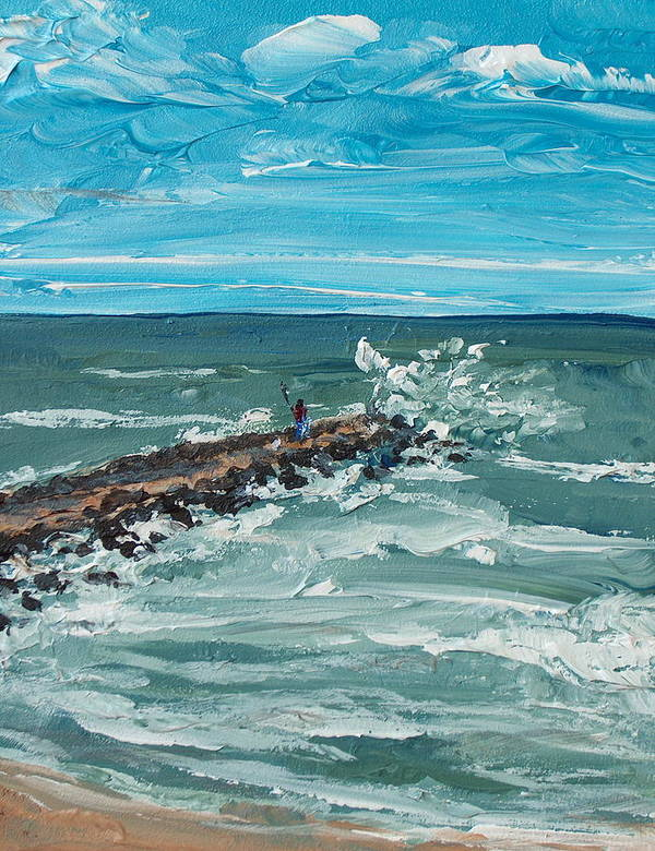 Seascape Poster featuring the painting Jersey Jetty by Pete Maier