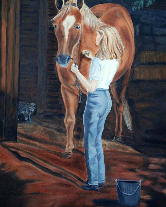 Horse Poster featuring the painting Jessica And Bunnie by Margaret Fortunato