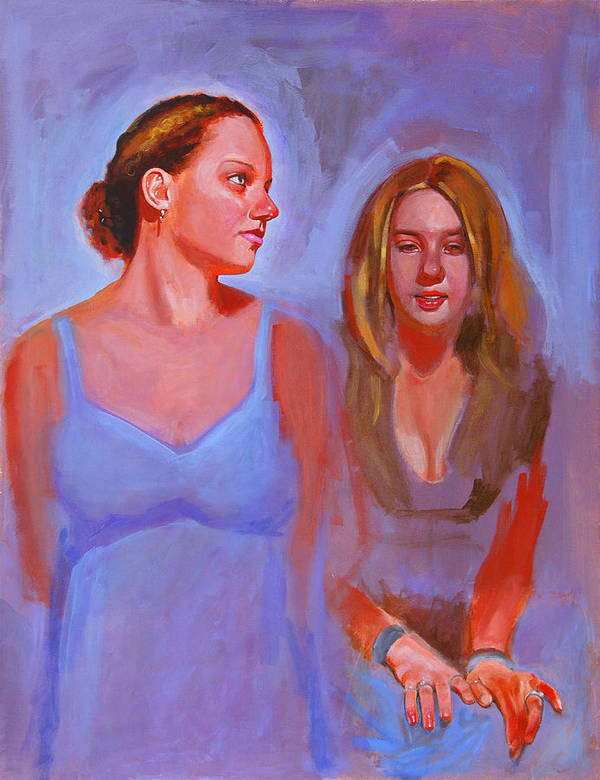 2 Girls Poster featuring the painting Jessica And Kate by John Tartaglione