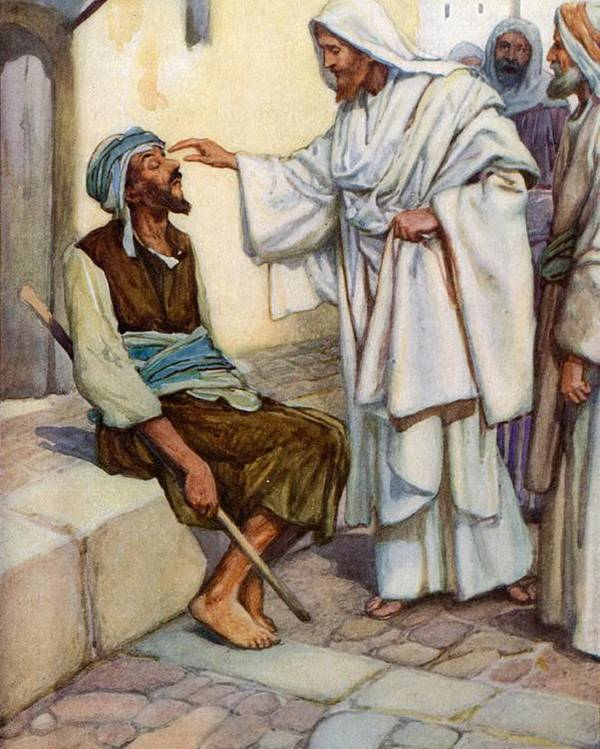 Bible; Biblical; Stories; Jesus; Blind Man Poster featuring the painting Jesus And The Blind Man by Arthur A Dixon