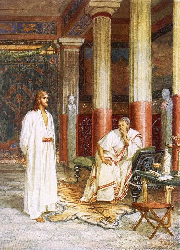 Bible; Jesus Christ; Pontius Pilate; Tiger Skin; Couch; Privately; Private Poster featuring the painting Jesus Being Interviewed Privately by William Brassey Hole