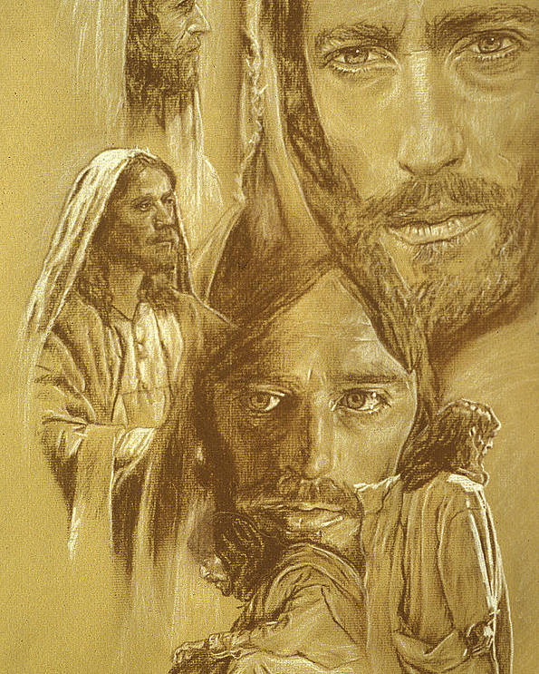 Drawing Poster featuring the drawing Jesus by Bryan Dechter
