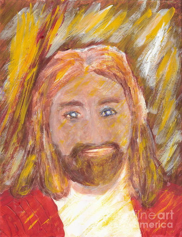 Jesus Poster featuring the painting Jesus Is The Christ The Holy Messiah 5 by Richard W Linford