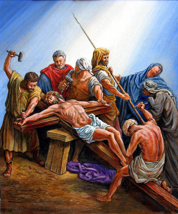 Jesus Poster featuring the painting Jesus Nailed To The Cross by John Lautermilch