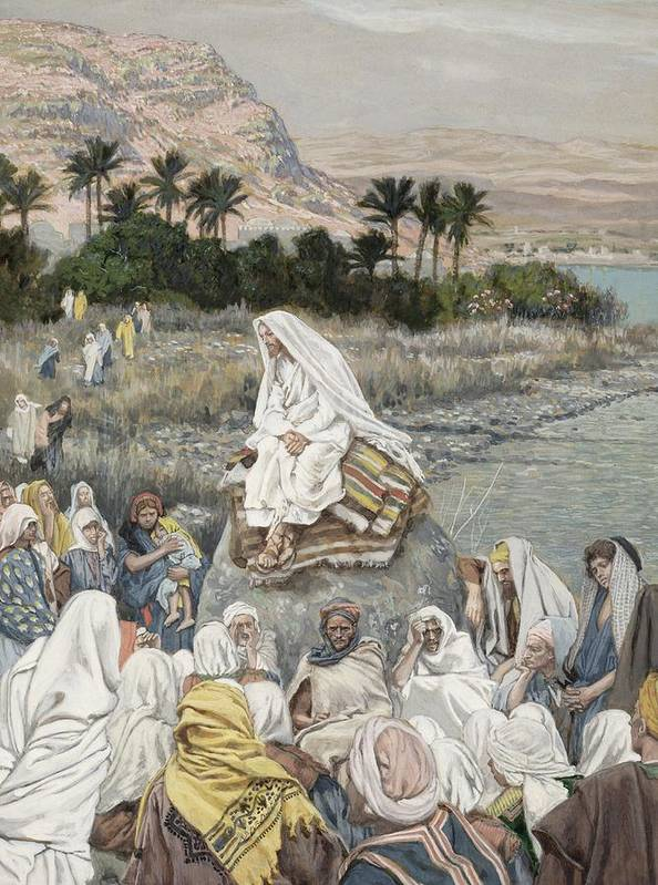 Sermon Poster featuring the painting Jesus Preaching By The Seashore by Tissot