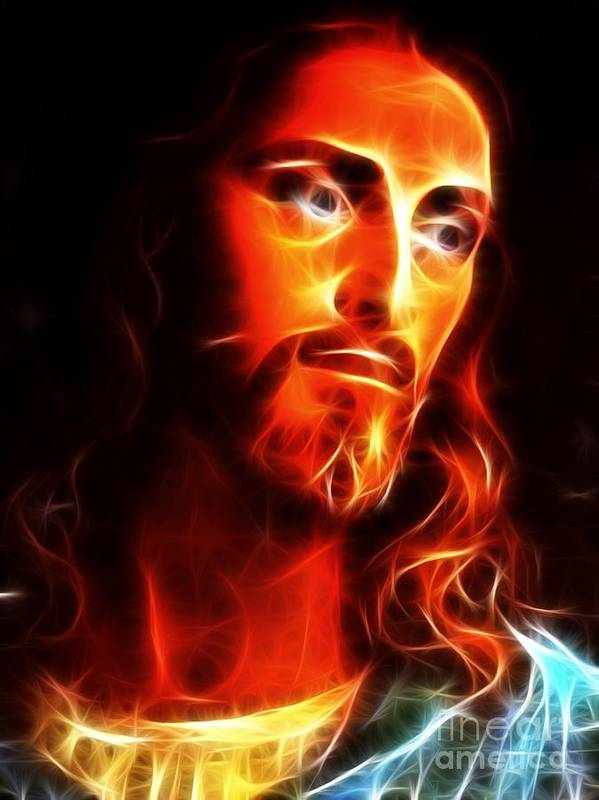 Jesus Poster featuring the mixed media Jesus Thinking About You by Pamela Johnson