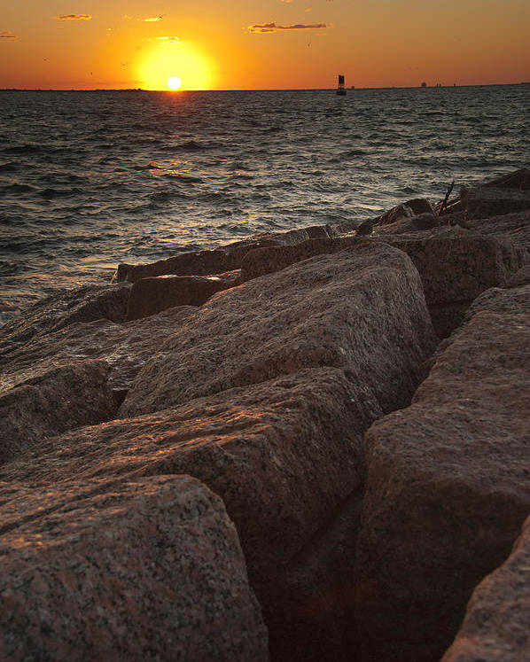 Sunset Poster featuring the photograph Jetties At Port Aransas Texas Gulf Coast by Andre Babiak