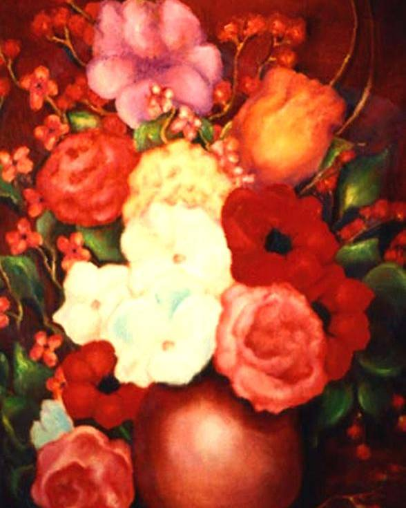 Flowers Poster featuring the painting Jewel Flowers by Jordana Sands