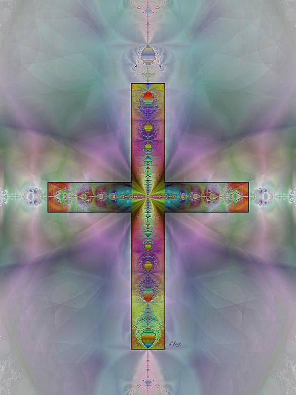 Christian Catholic Cross Impressionistic Gordon Beck Art Poster featuring the digital art Jeweled Cross by Gordon Beck