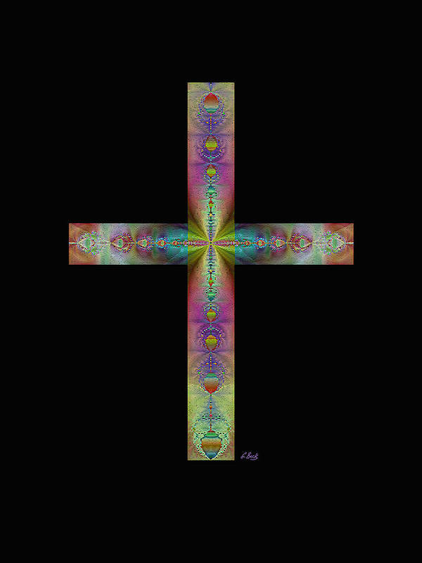 Christian Catholic Cross Impressionistic Gordon Beck Art Poster featuring the digital art Jeweled Cross On Black by Gordon Beck