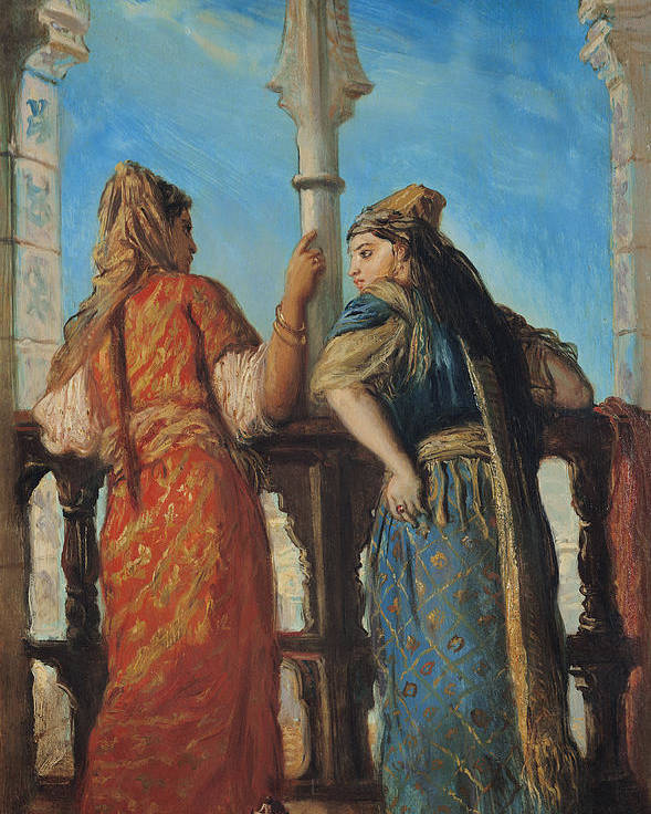 Jewish Poster featuring the painting Jewish Women At The Balcony In Algiers by Theodore Chasseriau
