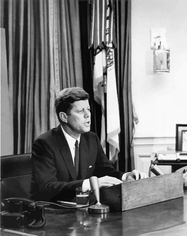 Jfk Poster featuring the painting Jfk Addresses The Nation by War Is Hell Store