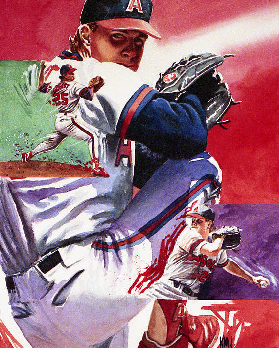 Baseball Poster featuring the painting Jim Abbott by Ken Meyer