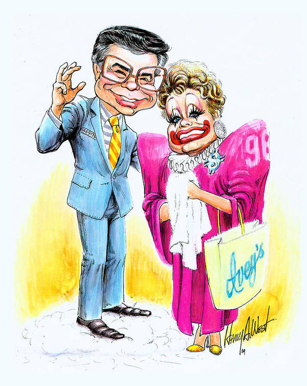 Jim Baker Poster featuring the drawing Jim And Tammy by Harry West