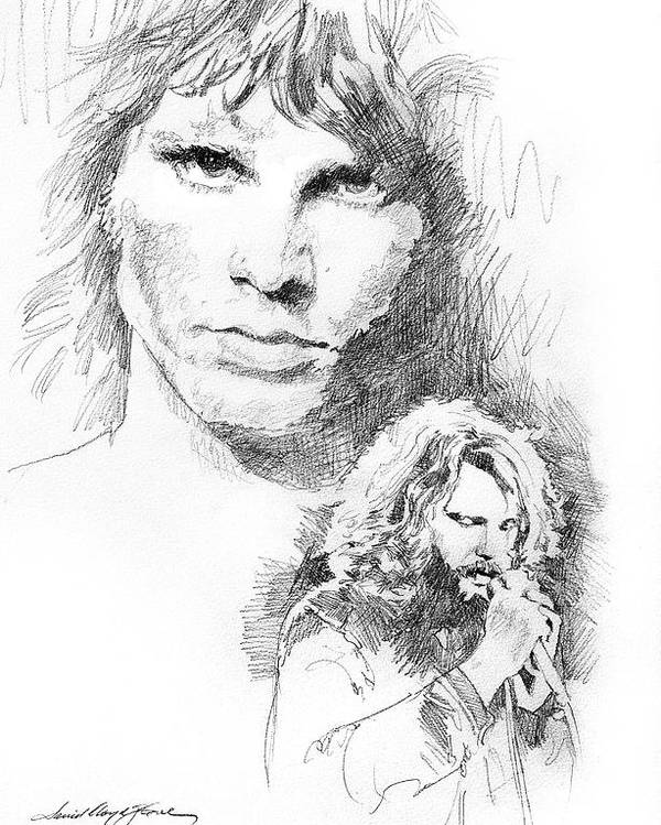 Pencil Poster featuring the drawing Jim Morrison Faces by David Lloyd Glover
