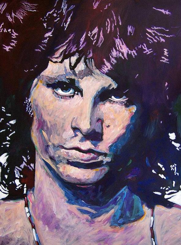 Jim Morrison Poster featuring the painting Jim Morrison The Lizard King by David Lloyd Glover