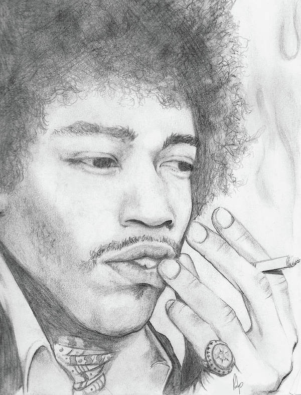 Jimi Hendrix Poster featuring the drawing Jimi Hendrix Artwork by Roly Orihuela