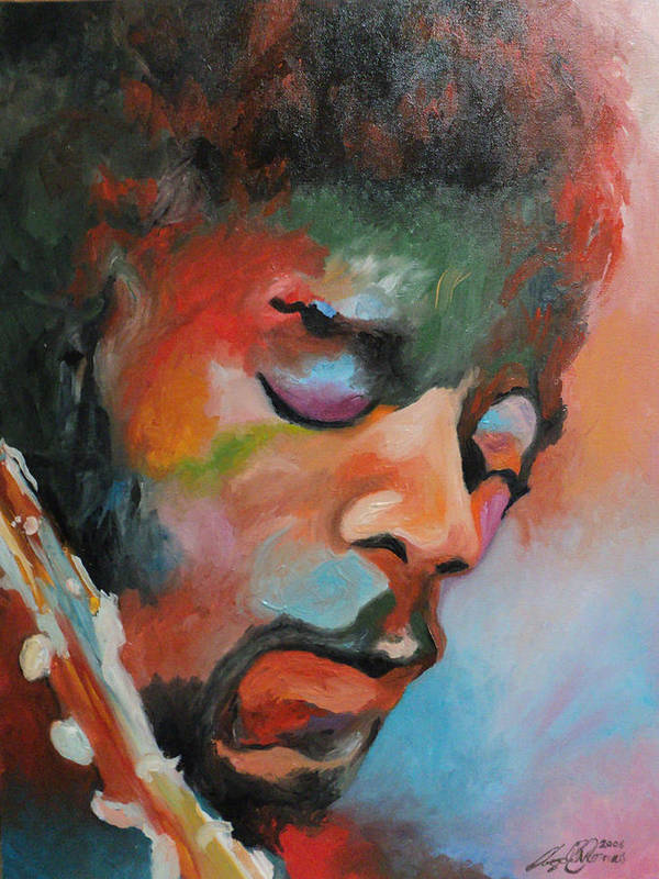 Portrait Poster featuring the painting Jimi Hendrix At Monterrey by Angelo Thomas
