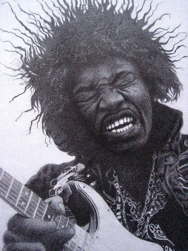 Jimi Hendrix Poster featuring the drawing Jimi Hendrix Drawing by Lana Cheng