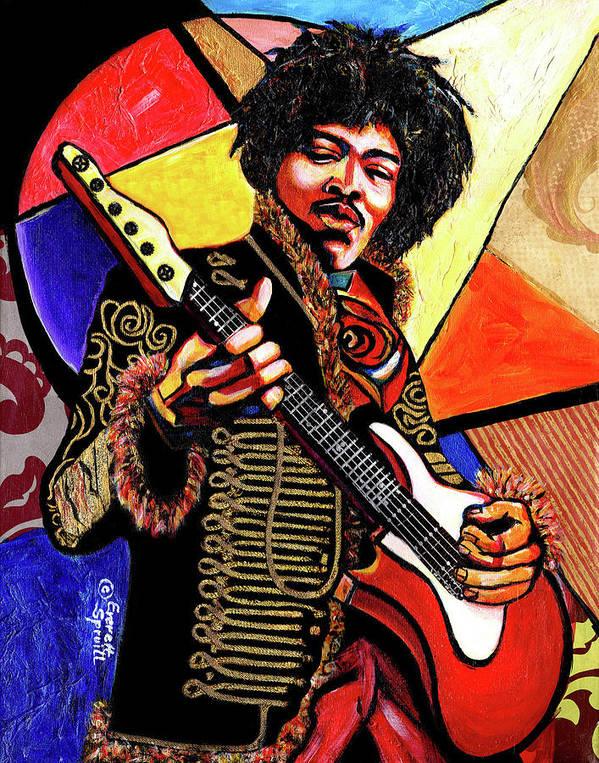 Everett Spruill Poster featuring the mixed media Jimi Hendrix by Everett Spruill