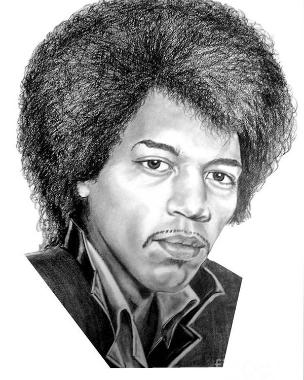 Jimmi Hendrix Poster featuring the drawing Jimmi Hendrix By Murphy Art. Elliott by Murphy Elliott