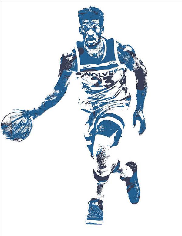 bbfb109bb Jimmy Butler Poster featuring the mixed media Jimmy Butler Minnesota  Timberwolves Pixel Art 5 by Joe