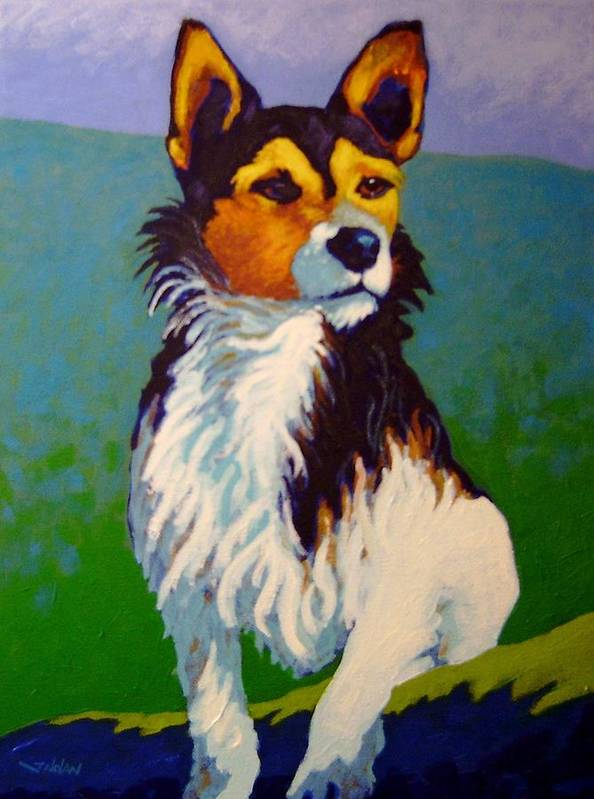 Dog Jack Russell Hunting Puppy Farm Irish Print Giclee Portrait Traditional Representational Colourful Contemporary Bone Doggy Poster featuring the painting Jimmy by John Nolan