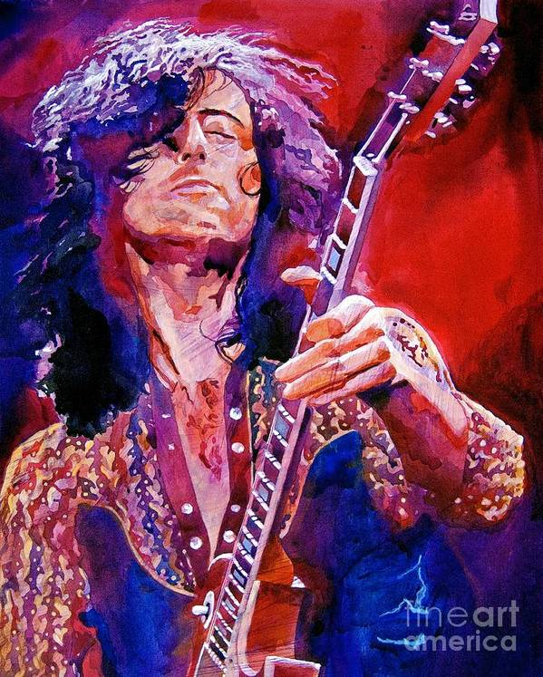 Jimmy Page Poster featuring the painting Jimmy Page by David Lloyd Glover