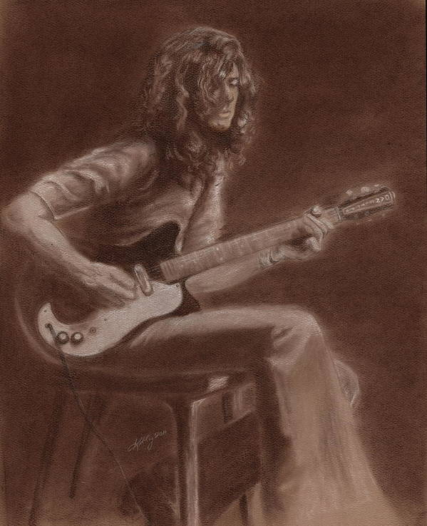 Jimmy Page Portait Poster featuring the drawing Jimmy Page by Kathleen Kelly Thompson