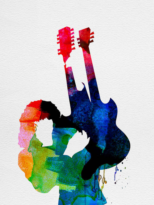 Jimmy Page Poster featuring the painting Jimmy Watercolor by Naxart Studio
