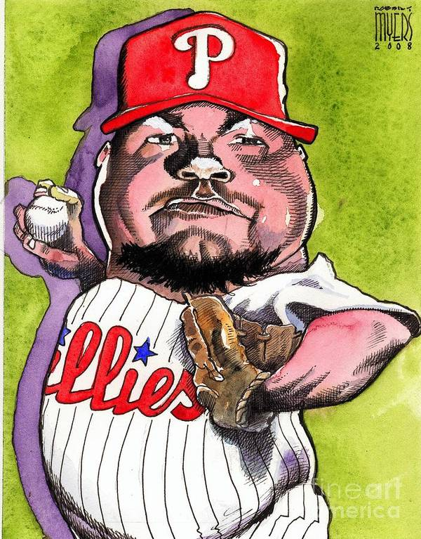 Sports Art Poster featuring the painting Joe Blanton -phillies by Robert Myers