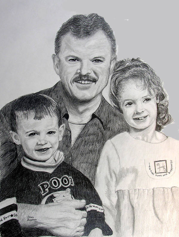 Pencil Portriat Poster featuring the drawing John and Megan and Joey by Stan Hamilton